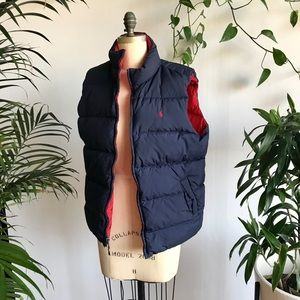 Polo Red/blue reversible puffy vest (small/medium)